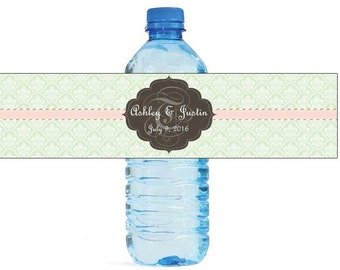 Mint Green with Pink Stripe Monogram Wedding Water Bottle Labels Great for Engagement Bridal Shower Party