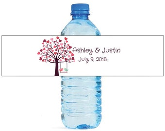 Love Birds on a Swing Wedding Water Bottle Labels Great for Engagement Bridal Shower Birthday Party easy to apply and use