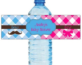 Beau or Bow Gender Reveal Baby Shower Water Bottle Labels Celebrations Baby coming boy girl Mustache