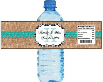 Burlap Chevron Blue Monogram Wedding Anniversary Bridal Shower Water Bottle Labels Great for Engagement Party Destination Cruise