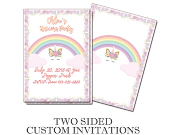 Unicorn & Rainbows Birthday Party Printed Invitations Fully Customizeable Grat for all sorts of occasions