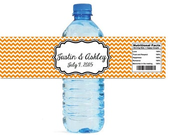 Etsy Chevron Tangerine Orange Wedding Water Bottle Labels Great for Engagement Bridal Shower Party