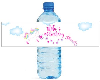 Unicorn Fairy tail Birthday Water Bottle Labels Great for Parties, and other children events easy to apply and use