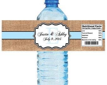 Burlap Pale Blue Stripe Monogram Wedding Water Bottle Labels Great for Engagement Bridal Shower Party 2 sizes available