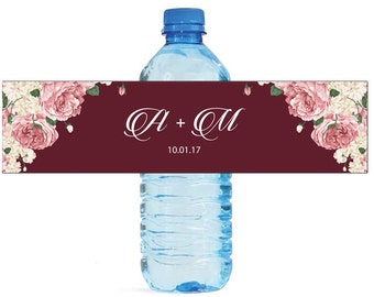 Boho Floral Water Bottle Labels Great for Weddings, Engagement Party Bridal Shower Birthday Party Easy to use self stick labels