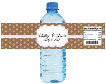 Kraft paper and lavender glitter dots Monogram Wedding Water Bottle Labels Great for Engagement Bridal Shower Anniversary Party self stick