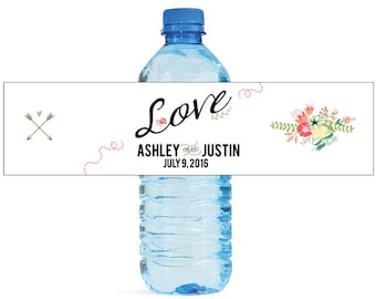 Floral Love Wedding Anniversary Engagment Party or any Event Water Bottle Labels Customizeable self stick labels