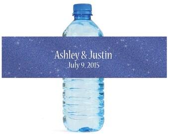 Modern Dark Blue Glitter Wedding Water Bottle Labels Great for Engagement Bridal Shower Party
