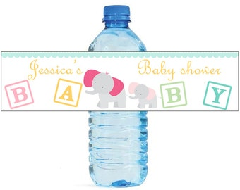 Mom and Baby Elephant Baby Shower Theme Water Bottle Labels Will go great with your Event or Celebration cute animal theme