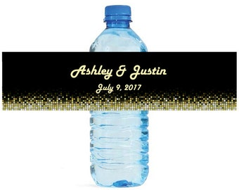 Retro 70s Black background Wedding Water Bottle Labels Great for Engagement Bridal Shower Party