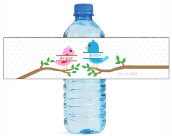 Love Birds on Branches Wedding Water Bottle Labels Great for Engagement Bridal Shower Birthday Party easy to apply and use
