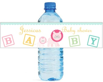 Mom and Baby Lion Baby Shower Theme Water Bottle Labels Celebrations animal theme