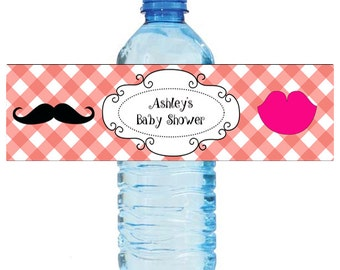 Coral Pattern Mustache Lips Gender Reveal Baby Shower Water Bottle Labels Celebrations Baby coming boy girl Mustache
