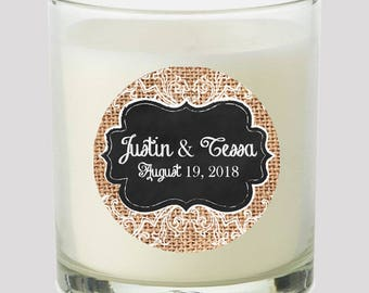 """Burlap & Lace Chalkbaord Frame 2"""" Party labels personalize events Weddings Bridal Shower Candles Cupcake toppers Mason Jar decals Stickers"""