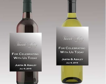 Black To Silver Thank You For Celebrating With Us Wine or Beer Bottle Labels Great for Engagement Bridal Shower Party