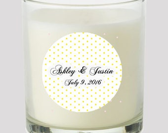 """Yellow Swiss Dots  2"""" Party labels personalize events Weddings Bridal Shower Candles Cupcake toppers Mason Jar decals Stickers"""