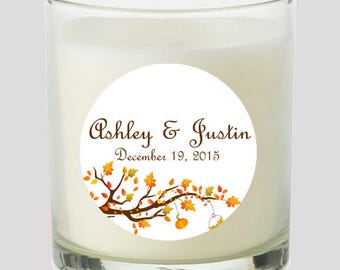 """Autumn Leaves 2"""" Party labels personalize events Weddings Bridal Shower Birthdeay Candles Cupcake toppers Mason Jar decals Stickers"""