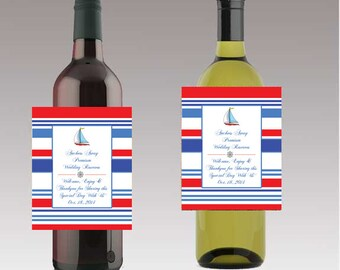 Anchors Away Nautical Wine or Beer Bottle Labels Great for Engagement Bridal Shower Party