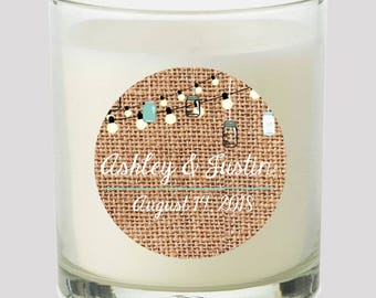 """Burlap & Hanging Mason Jars w Market lights 2"""" Party labels events Weddings Bridal Shower Candles Cupcake toppers Mason Jar decals Stickers"""
