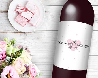 Pink Heart Wine / Beer Bottle Labels Great for Engagement Bridal Shower Party self stick easy to use labels