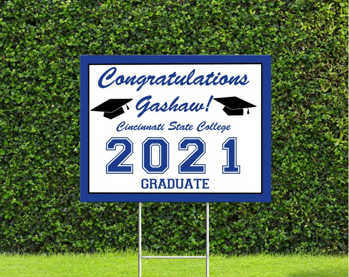"""Featured listing image: Graduation Yard Signs, class of 2021 sign perfect for your graduate. 18""""x22"""" Sign"""