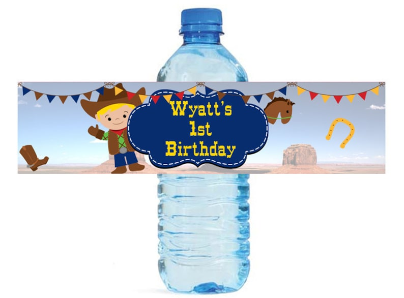 Cowboy Theme Kids Birthday Water Bottle Labels Great for all sorts of parties and get togethers easy to use self stick labels