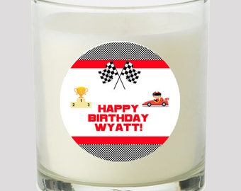 """Race Car 2"""" Favor labels Great for personalizing Baby Shower Birthday Party Kids Party Great on cupcake toppers Mason Jars Bubbles"""