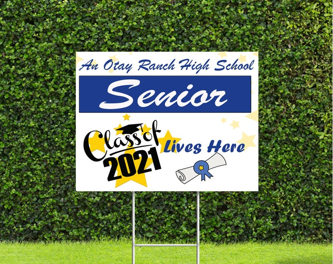 """Featured listing image: Custom Senior Class of 2021 Lives Here Yard Sign with Stake, 18""""x22"""" High School College Color Options Available"""