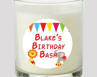 """Circus 2"""" Party labels personalize events Birthday Baby Shower decoration Candles Cupcake toppers Mason Jar decals Stickers"""