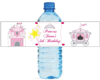 Princess Birthday Water Bottle Labels Great for Parties, and other children events easy to apply and use fairytale
