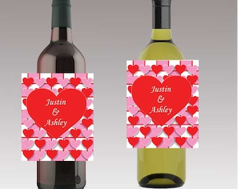 Hearts Label Valentine Beer or Wine Bottle Labels Valentine Day Customizeable