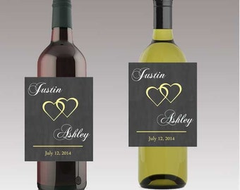 Modern Hearts Wedding Beer Wine or Bottle Labels Great for Engagement Bridal Shower Party