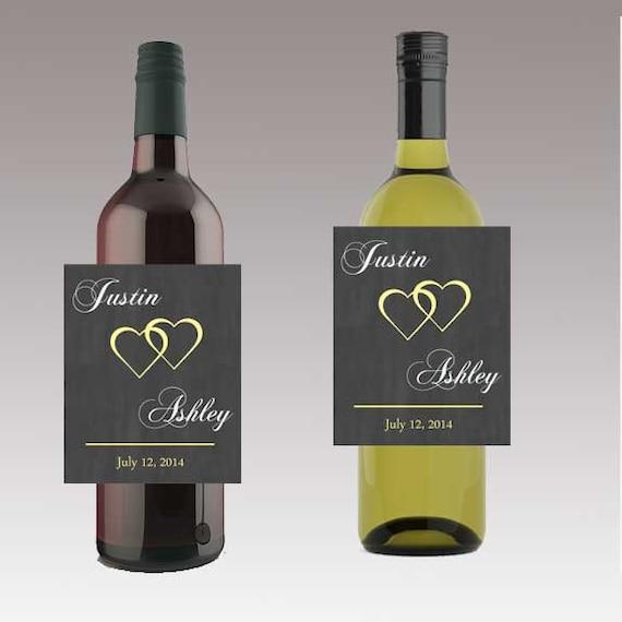 Moderne Herzen Hochzeit Bier Wein oder Flasche Etiketten für
