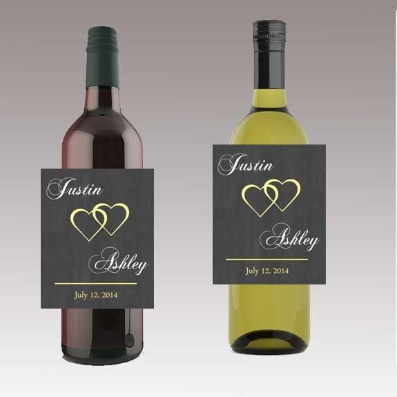 Moderne Herzen Hochzeit Bier Wein oder eine Flasche Etiketten | Etsy
