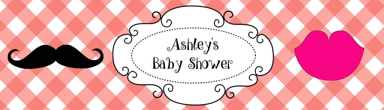 "25 Gender Reveal He or She Baby Shower Celebration Water Bottle Labels 8/""x2/"""