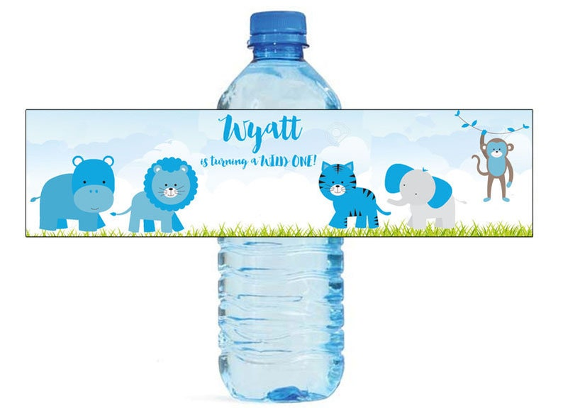 Boy jungle Party Water Bottle Labels Great for all sorts of parties and get togethers easy to use self stick labels