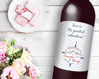 Love is the Greatest Adventure Wine / Beer Bottle Labels Great for Engagement Bridal Shower Party self stick easy to use labels