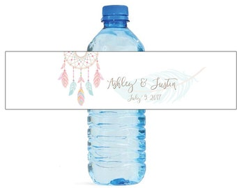Dreamcatcher water bottle labels, perfect for Weddings, Anniversaries, Birthdays, newborn baby, baby shower, easy to use self stick label