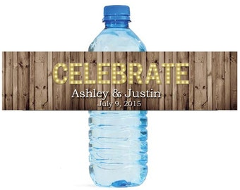 Rustic Wood Marquee Letters Celebrate Wedding Anniversary Engagment Party Water Bottle Labels Customizeable self stick labels