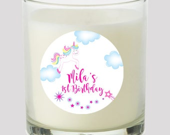 """Unicorn Party 2"""" Favor labels Great for personalizing Baby Shower Birthday Party Kids Party Great on cupcake toppers Mason Jars Bubbles"""