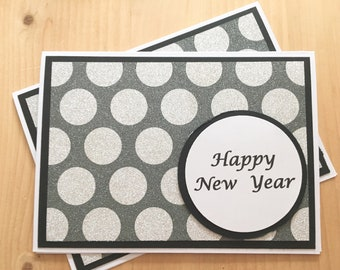 handmade happy new year greeting card silver glitter new years card blank