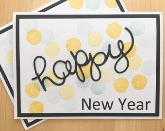 confetti happy new year greeting card blank new years card handmade greeting card for new years