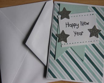 handmade blue happy new year greeting card blank new years card