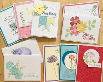 10ct Birthday Cards Handmade Flower Feminine Card Set