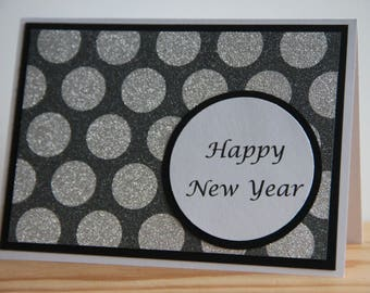 handmade happy new year greeting card silver glitter new years card blank