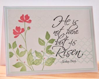 Items similar to christian easter card set handmade religious he is risen easter card handmade christian greeting card luke 246 religious easter card bible verse easter card m4hsunfo