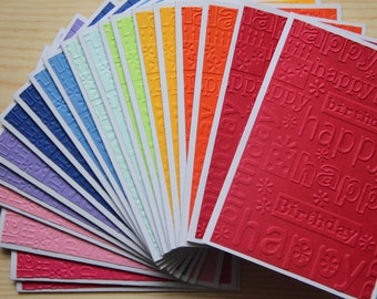 20 Embossed Birthday Cards Card Set Rainbow Blank Happy Assortment