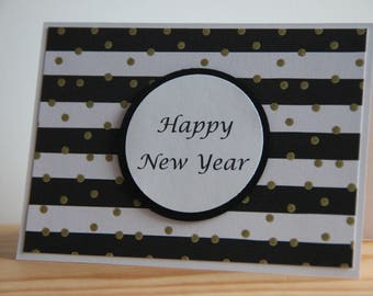 black white and gold glitter handmade happy new year greeting card new years cards 2019