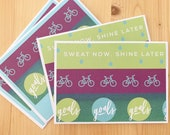 4ct Blank Bicycle Note Cards. Workout Cards. Biking Club Motivation Cards. Goals