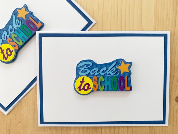 Astounding Handmade Back To School Cards 1St Day Of School Blank Etsy Funny Birthday Cards Online Fluifree Goldxyz